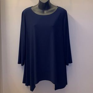 Tops - Three Quarter Sleeve Navy Blouse